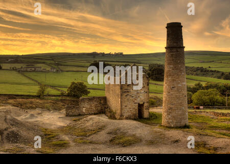 Disused Mine Engine House And Chimney Stack At Kelly Bray