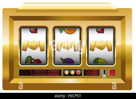 Golden handshake - slot machine with three handshake symbols. - Stock Photo