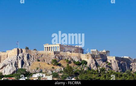 Parthenon temple on Athenian Acropolis, Athens, Greece - Stock Photo
