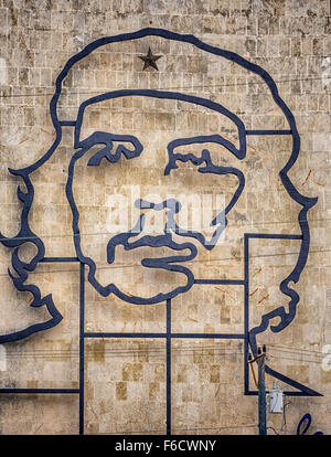 Ernesto Che Guevara as an art installation and propaganda work of art on a wall at the Revolution Square, - Stock Photo