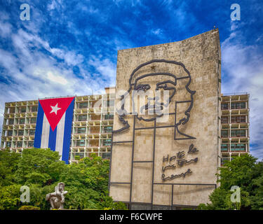 Ernesto Che Guevara as an art installation and propaganda work of art on a wall at the Revolution Square - Stock Photo