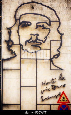 Ernesto Che Guevara as an art installation and propaganda work of art on a wall in the Revolution Square, the Interior - Stock Photo