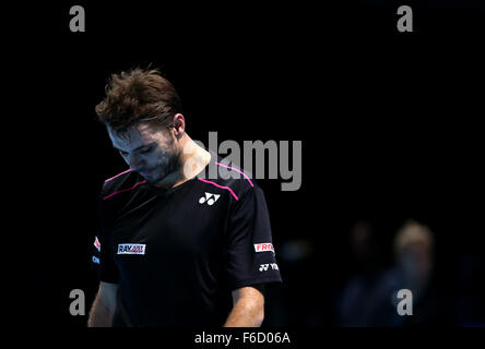 London, UK. 16th Nov, 2015. Stan Wawrinka of Switzerland reacts during the match against Rafael Nadal of Spain at - Stock Photo