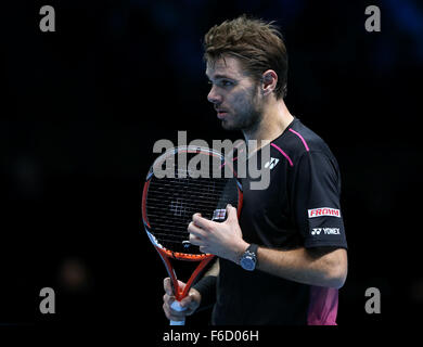 London, UK. 16th Nov, 2015. Stan Wawrinka of Switzerland reacts during of the match against Rafael Nadal of Spain - Stock Photo