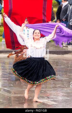 Ingapirca, Ecuador - 20 June 2015: Unidentified Young Men And Women Dancers, Are Dancing In The Circle, Celebrating - Stock Photo