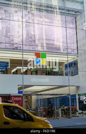Facade, Microsoft Retail Store, Fifth Avenue, NYC, USA - Stock Photo