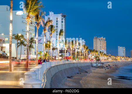 The boardwalk at twilight in Mazatlan, Sinaloa, Mexico. - Stock Photo