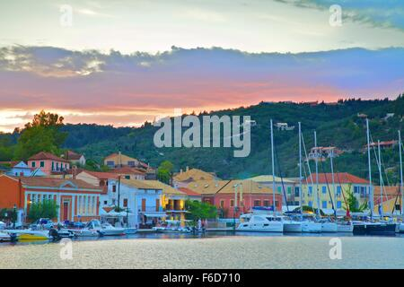 Gaios Harbour, Paxos, The Ionian Islands, Greek Islands, Greece, Europe - Stock Photo