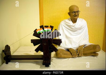 Mahatma gandhi statue with spinning wheel, wax museum, lonavala, maharashtra, india, asia - Stock Photo