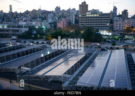 LEBANON, Beirut, Beirut River Solar Snake (BRSS) project, solar panel covering the Beirut River between the Armenia - Stock Photo