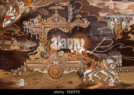 Painting of lord krishna chariot, india, asia - nmk 190786 - Stock Photo