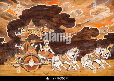 Painting of lord krishna with arjuna, surajkund mela, faridabad, haryana, india, asia - Stock Photo