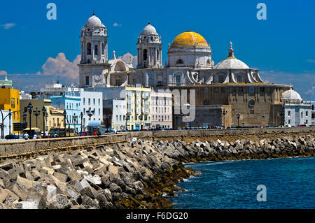 Cathedral, Catedral de la Santa Cruz, Cadiz, Andalusia, Spain - Stock Photo