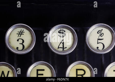 345 numbers on typewriter keyboard - Stock Photo