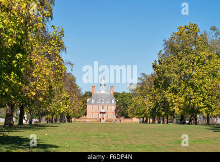 The Governor's Palace from the Palace Green, Colonial Williamsburg, Virginia, USA - Stock Photo