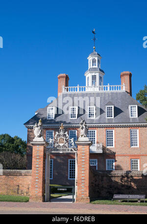 Entrance to the Governor's Palace, Colonial Williamsburg, Virginia, USA - Stock Photo