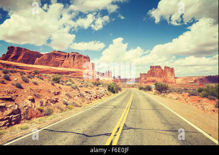 Vintage toned scenic road, travel concept picture, USA. - Stock Photo