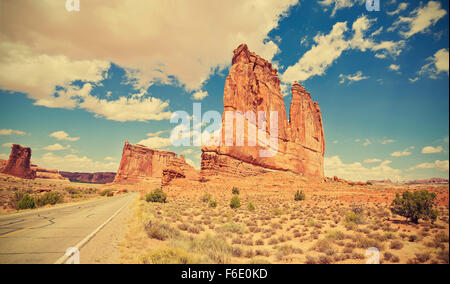Vintage toned scenic road in Arches National Park, Utah, USA. - Stock Photo