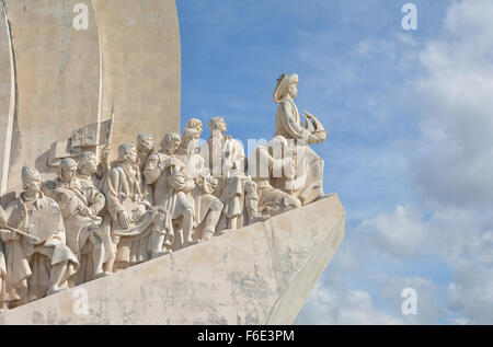 Detail of the Monument to Discoveries located along the Tagus River in Belém, close to Lisbon - Stock Photo