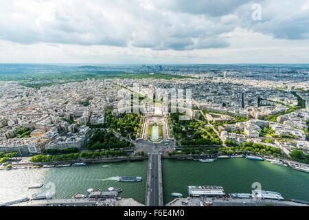 View from Eiffel Tower, Jardins du Trocadéro, Place du Trocadéro et du 11 Novembre, Paris, Ile-de-France, France - Stock Photo