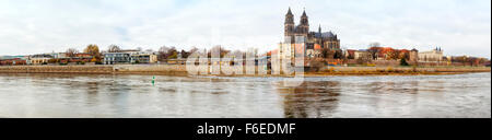 Panoramic view of Magdeburg on the Elbe river with its cathedral - Stock Photo