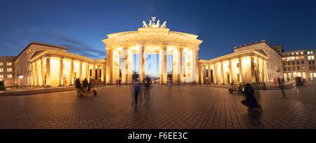 Spheric Panorama of Pariser Platz square at Berlin with Brandenburg Gate at dusk, long eswxposure shot - Stock Photo