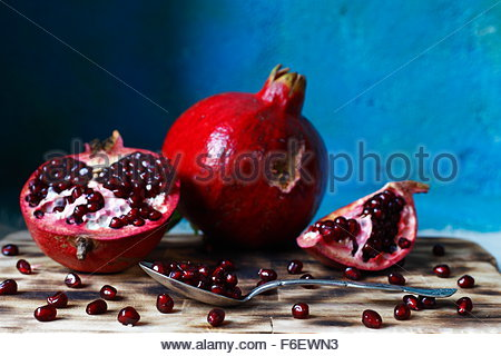 pomegranate macro photographed in daylight, visual, color image - Stock Photo