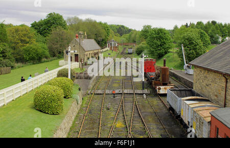 Train station at Beamish Museum, Co Durham - Stock Photo