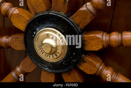 Close up of the ships wheel on RRS Discovery Royal Research Ship moored at Discovery Point Dundee - Stock Photo