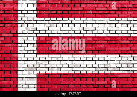 flag of Eindhoven painted on brick wall - Stock Photo