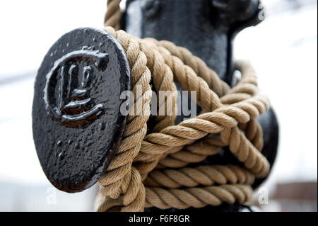 Rope stowage on RRS Discovery Royal Research Ship moored at Discovery Point Dundee - Stock Photo