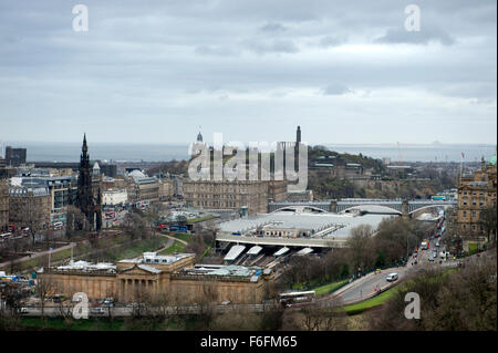An almost aerial view from Edinburghs castle hill.  Looking across the national gallery and station to Calton Hill - Stock Photo