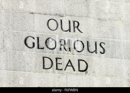 'Our Glorious Dead' inscription on the Singapore Cenotaph, commemorating those lost in World War 1 and 2. - Stock Photo