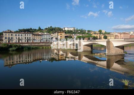 Bridge across Arno river, Ponte Alle Grazie, Florence, Tuscany, Italy - Stock Photo