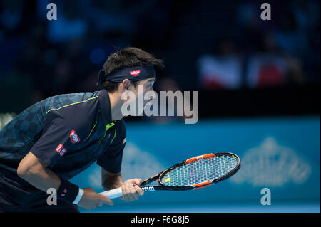 O2 Arena, London, UK. 17th Nov, 2015. Barclays ATP World Tour Finals. Tomas Berdych (CZE) vs Kei Nishikori (JPN) - Stock Photo