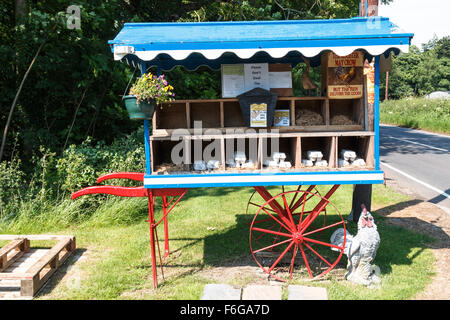 Road side market barrow displaying free range eggs for sale - Stock Photo