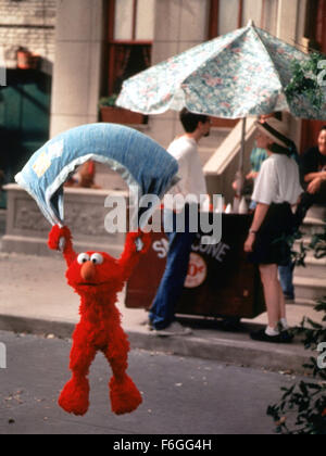 Sep 01, 1999; Los Angeles, CA, USA; 'ELMO' parachutes down to the street in the movie 'The Adventures of Elmo in - Stock Photo