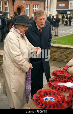 Elderly couple inspecting the wreath's laid at the War memorial during the 2015 Remembrance Day commemoration service - Stock Photo