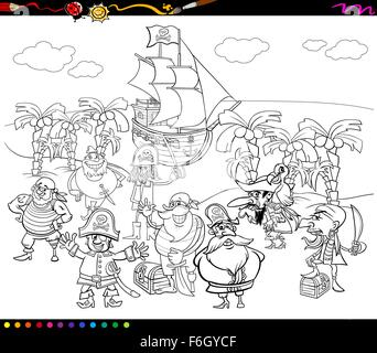 Black and White Cartoon Illustrations of Fantasy Pirate Characters on Treasure Island for Coloring Book - Stock Photo