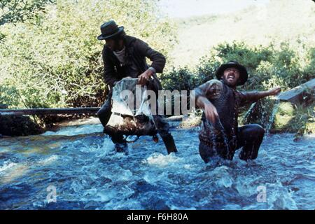 1976, Film Title: MISSOURI BREAKS, Pictured: BEARD, COWBOY, FIGHTING, HAT, MOUSTACHE, JACK NICHOLSON. (Credit Image: - Stock Photo