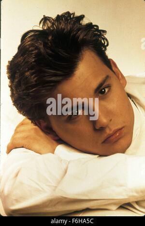 1989, Film Title: 21 JUMP STREET, Pictured: 1989, JOHNNY DEPP, PORTRAIT, STUDIO, SHIRT - WHITE, RESTING. (Credit - Stock Photo
