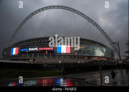 Wembley, UK. 17th Nov, 2015.   Wembley Stadium ahead of the football friendly between England and France. The stadium - Stock Photo