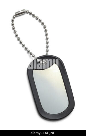 Single Military Dog Tag Isolated on a White Background. - Stock Photo