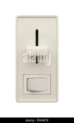 Wall Light Switch with Dimmer Isolated on a White Background. - Stock Photo