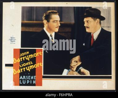 1932, Film Title: ARSENE LUPIN, Director: JACK CONWAY, Studio: MGM, Pictured: JOHN BARRYMORE, LIONEL BARRYMORE. - Stock Photo