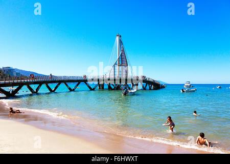 Pier of Los Muertos in Zone Romantica, Puerto Vallarta, Mexico in the Bay of Banderas, - Stock Photo