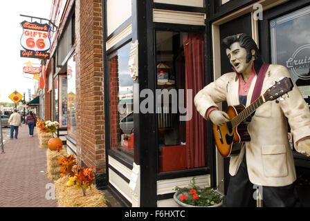 Elvis Statue on sidewalk Williams Arizona USA - Stock Photo