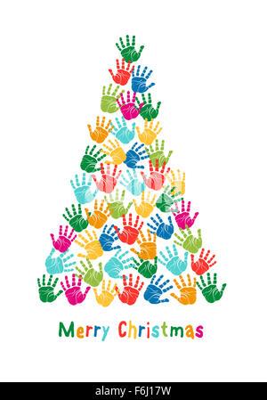 Colorful Christmas tree, kids hand prints, vector illustration - Stock Photo