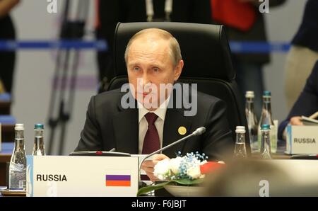 Russian President Vladimir Putin during a working meeting of the G20 summit November 15, 2015 in Antalya, Turkey. - Stock Photo