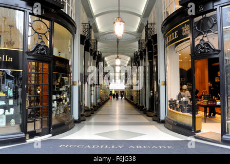 Grand entrance to the Piccadilly Arcade in central London, England - 2015.  Home to fine retailers. UK GB EU - Stock Photo